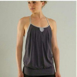 Lululemon Heathered Coal Stripe Let It Loose Tank